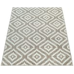 Paco Home Teppich Beige Weiß Wohnzimmer Flauschig Ethno Rauten Design Robust Kurzflor