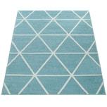 Paco Home Skandi Teppich Wohnzimmer Blau Weiß Rauten Design Weich Pastellfarben Kurzflor