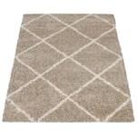 Paco Home Hochflor Teppich Wohnzimmer Shaggy Skandinavisches Rauten Muster Modern In Beige
