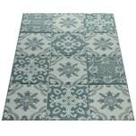 Paco Home Designer Teppich Modern Konturenschnitt Pastellfarben Karo Orient Muster Blau