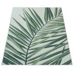 Paco Home In- & Outdoor Teppich Palmen-Muster Terrasse Balkon Flachgewebe Grün Beige