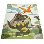 Paco Home Kinderzimmer Teppich Grün Dinosaurier Dschungel Vulkan 3-D Effekt Kurzflor