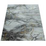 Paco Home Kurzflor Wohnzimmer Teppich Modern Marmor Design Abstraktes Muster Grau Gold