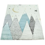 Paco Home Kinderteppich Kinderzimmer Pastell Blau Grau Berg Mond Sterne Strapazierfähig