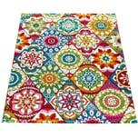 Paco Home Kurzflor Teppich Wohnzimmer Bunt Retro Design Mandala Muster Design Boho Stil