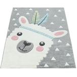 Paco Home Teppich Kinderzimmer Grau 3-D Motiv Alpaka Design Pastellfarben Weich Robust