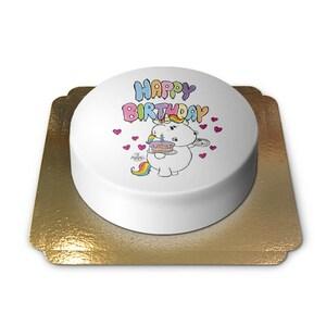 Pummeleinhorn Geburtstagstorte Schokoladenkuchen mit Schokoladenbuttercremefüllung 6 Portionen
