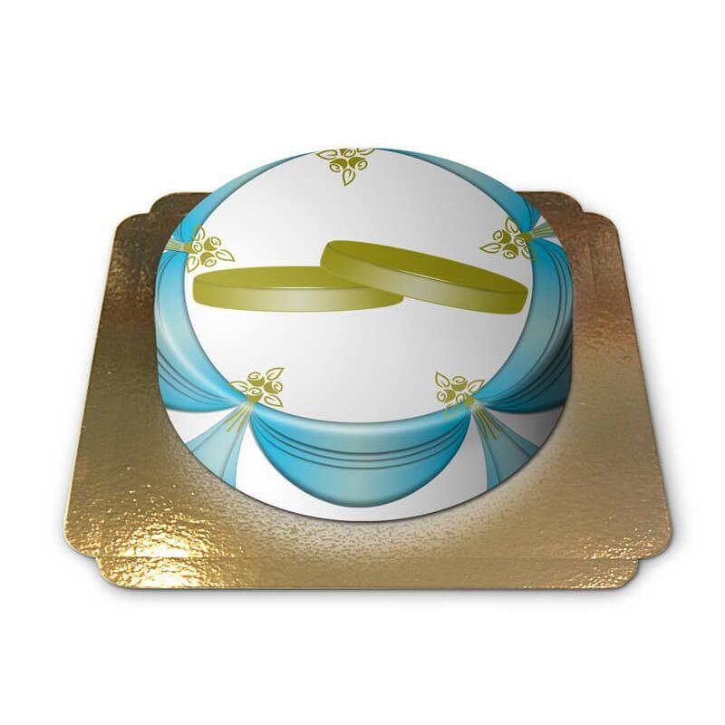 Hochzeitsringe-Torte Schokoladenkuchen mit Schokoladenbuttercremefüllung 6 Portionen
