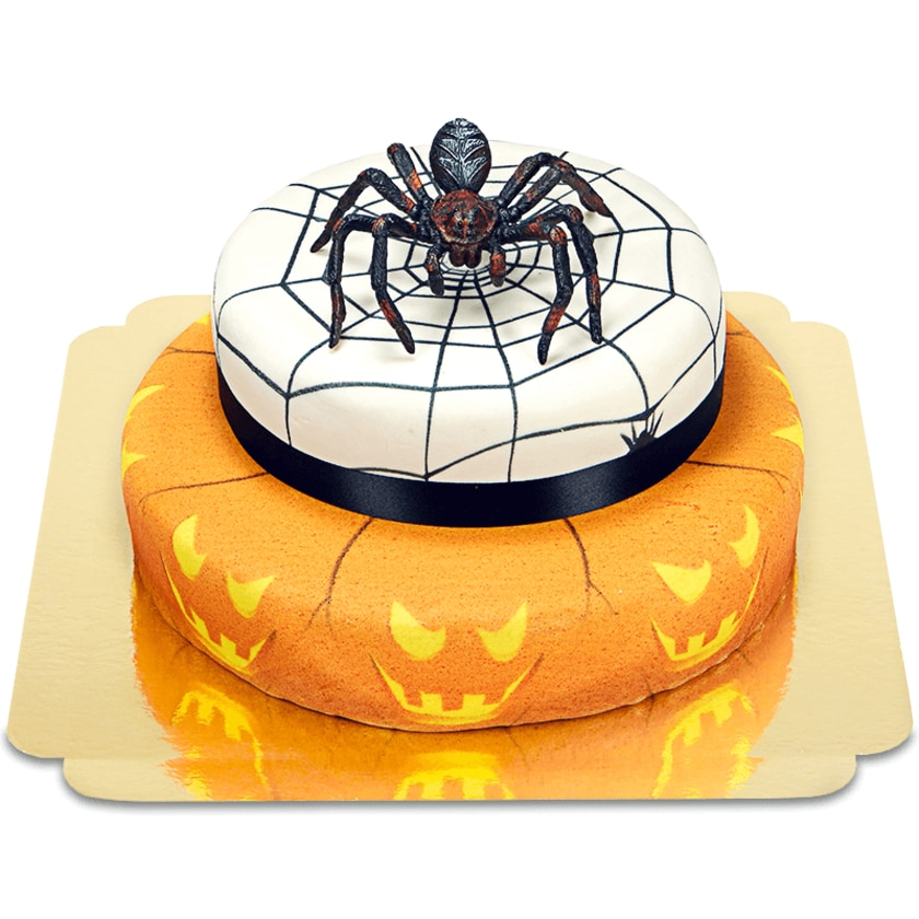 Spinne auf 2-stöckiger Halloweentorte Schokoladenkuchen mit Schokoladenbuttercremefüllung 18 Portionen