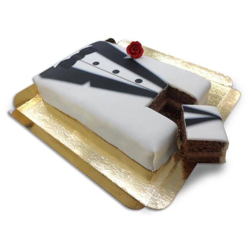 Bräutigam Torte schwarz-weißer Smoking Schokoladenkuchen mit Schokoladenbuttercremefüllung 10 Portionen