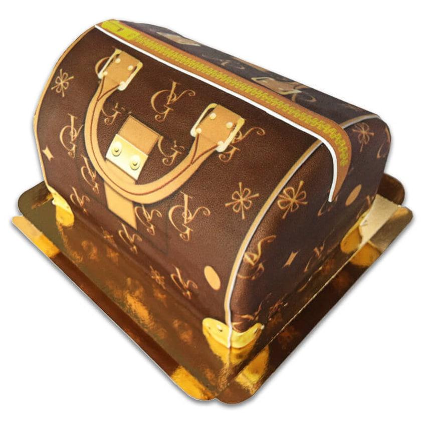 Handtaschen-Torte VG braun mit beigen Details Schokoladenkuchen mit Schokoladenbuttercremefüllung 30 Portionen
