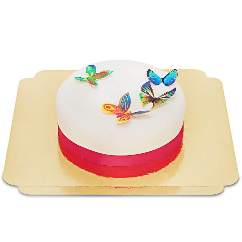 Torte mit Schmetterlings-Oblaten Schokoladenkuchen mit Schokoladenbuttercremefüllung 6 Portionen