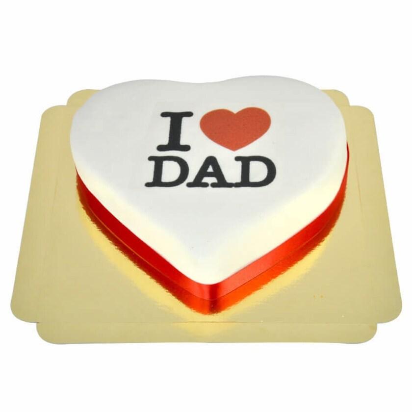 I Love Dad-Herztorte Schokoladenkuchen mit Schokoladenbuttercremefüllung 10 Portionen