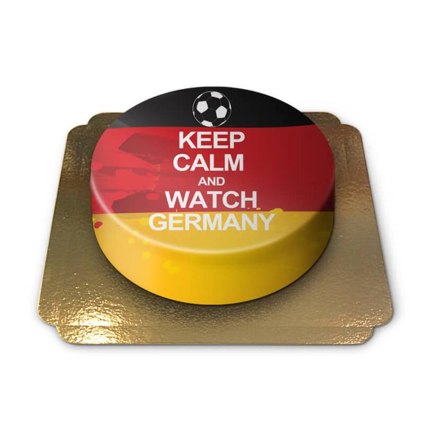 Keep Calm and Watch Germany-Torte Schokoladenkuchen mit Schokoladenbuttercremefüllung 6 Portionen