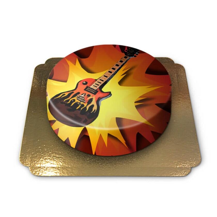 E-Gitarren Torte Schokoladenkuchen mit Schokoladenbuttercremefüllung 6 Portionen