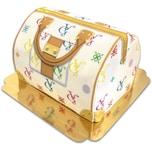 Handtaschen-Torte VG, weiß mit bunten Details Schokoladenkuchen mit Schokoladenbuttercremefüllung 30 Portionen