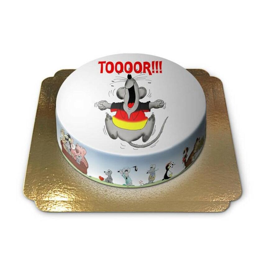 Deutschland hat ein Tor geschossen Torte Schokoladenkuchen mit Schokoladenbuttercremefüllung 6 Portionen