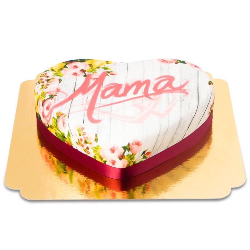 Gartentorte zum Muttertag in Herz-Form Schokoladenkuchen mit Schokoladenbuttercremefüllung 10 Portionen