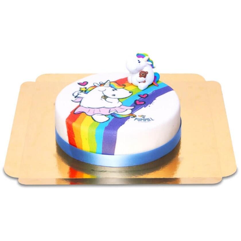 Pummeleinhorn auf Regenbogen-Torte Schokoladenkuchen mit Schokoladenbuttercremefüllung 6 Portionen