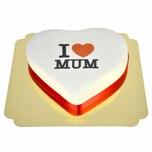 I Love Mum-Herztorte Schokoladenkuchen mit Schokoladenbuttercremefüllung 10 Portionen