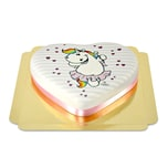 Pummeleinhorn-Torte in Herzform Schokoladenkuchen mit Schokoladenbuttercremefüllung 10 Portionen
