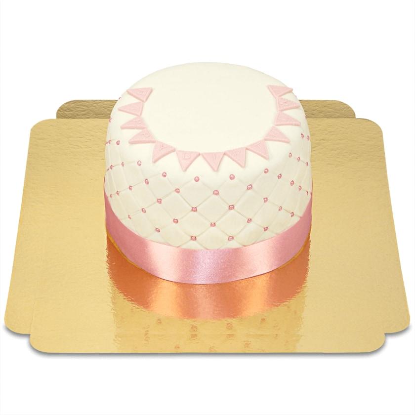 Happy Birthday Deluxe Torte pink 12 Portionen