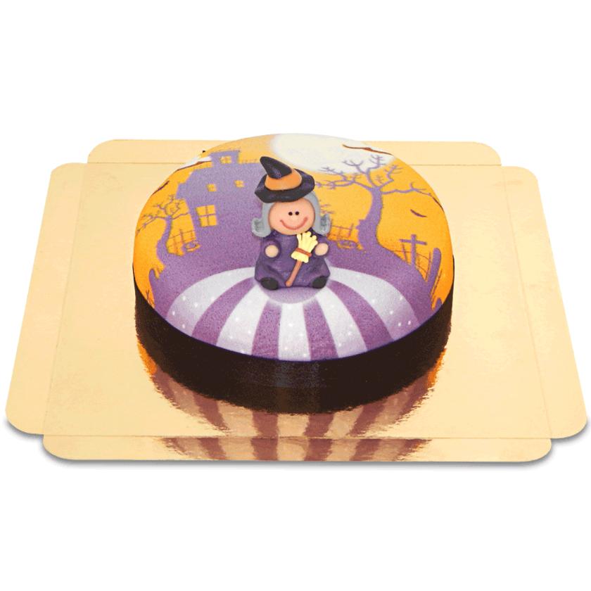 Hexe-auf-Gruselhaus-Torte Schokoladenkuchen mit Schokoladenbuttercremefüllung 6 Portionen