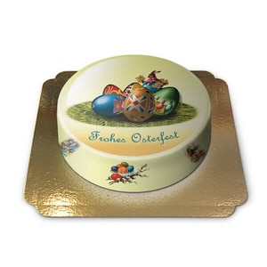 Ostertorte Frohes Osterfest Schokoladenkuchen mit Schokoladenbuttercremefüllung 6 Portionen