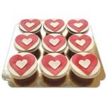 Herzen- Cupcakes Schokolade 9 Stück