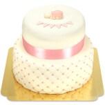 Rosa Tauftorte Schokoladenkuchen mit Schokoladenbuttercremefüllung 36 Portionen