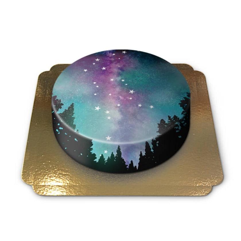 Nachthimmel-Torte Schokoladenkuchen mit Schokoladenbuttercremefüllung 6 Portionen