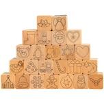EDUPLAY 220-103 Adventskalender Stempel aus Holz, natur, 24-teilig (1 Set)