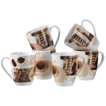 Mäser 688182 Latte Macchiato Kaffeebecher 280ml braun/weiß 6er Pack