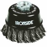 Ironside 243-005/608151 Topfbürste 65mm M14 0,5mm gezopft, für Winkelschleifer, schwarz/grau