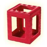 folia 9720/5 Mini Laternenrohlinge aus 3D-Wellpappe, 5 Teile, 10x10x12cm, rot, rot (1 Stück)