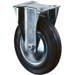 BS Rollen L410B55201 Bockrolle Gummi sw.200mm galv. Gehäuse, 205 kg, schwarz/silber
