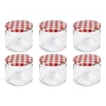 Dosen-Zentrale Züchner 34645 Rundrandglas 330 ml mit 82 mm Twist-Off-Deckel, rot/weiß/klar (6er Pack)