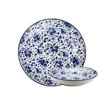 GUSTA 02265600 OTB Floral Suppenteller Teller tief ø21,5cm, blau/weiß