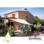 Corasol 160056 Premium Sonnensegel, 5 x 5 x 5 m, Dreieck, wasserabweisend, creme-weiß