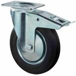 BS Rollen L420B55126 Lenkrolle mit Festst. 125mm galv. Gehäuse, 100 kg, schwarz/silber