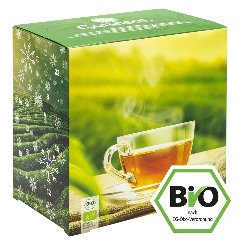 Corasol Premium Bio-Tee-Adventskalender 2020, 24 Premium Bio-Teesorten, loser Tee, Geschenk-Idee für nachhaltigen Genuss (215 g)
