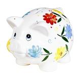 Porzellan-Sparschwein Blumendeko mit Schloss mehrfarbig 23 cm