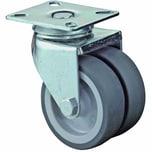 BS Rollen B100A80050 Doppelrolle mit Platte Gleitlager, grau/silber