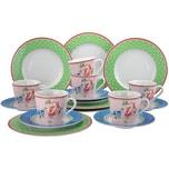 CreaTable 16375 Kaffeeservice Vintage für 6 Personen, Porzellan (1 Set, 18-teilig)