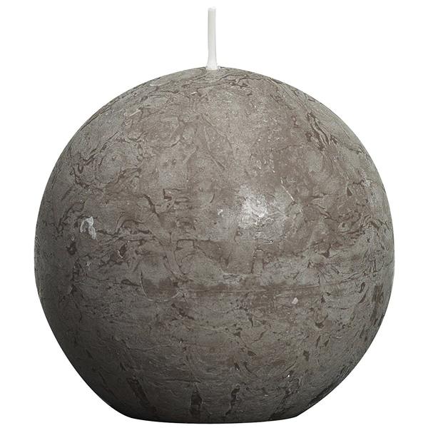 Bolsius 103868090324 Rustik Kugelkerze, Ø 8 cm, taupe