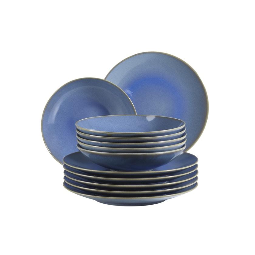 Mäser Tellerset Ossia für 6 Personen im mediterranen Vintage-Look hellblau 12-teilig