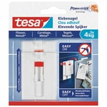 tesa 77767 Powerstrips Klebenagel für Fliesen & Metall, verstellbar, 4 kg, weiß (2er Pack)