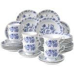 CreaTable 11689 Kombiservice Ivona für 6 Personen + Zwiebelmuster, Porzellan, blau/weiß (1 Set, 30-teilig)
