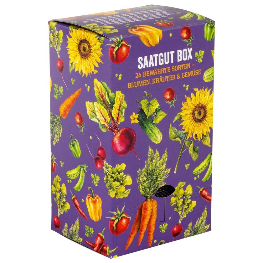 Corasol Saatgut Box, 24 bewährte Sorten - Blumen, Kräuter & Gemüse, 25-teilig (1 Set)