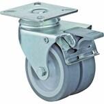 BS Rollen B120A80050 Doppelrolle mit Platte Gleitlager u.Feststeller, grau/silber